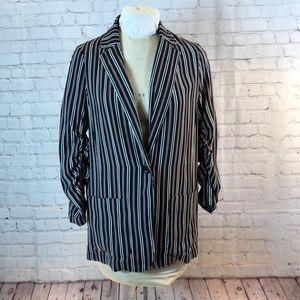 Max Studio striped shirt blazer w ruched sleeve